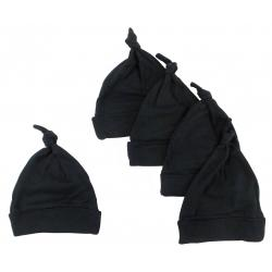 Black Knotted Baby Cap (pack Of 5)