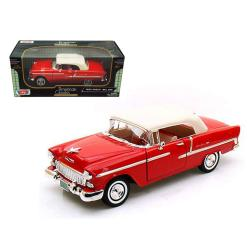 1955 Chevrolet Bel Air Convertible Soft Top Red 1-18 Diecast Car Model By Motormax 73184r