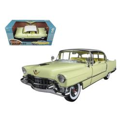 1955 Cadillac Fleetwood Series 60 Yellow With White Roof 1-18 Diecast Model Car By Greenlight 12937
