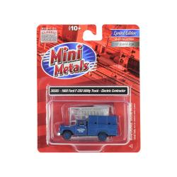 1960 Ford F-250 Utility Truck Electric Contractor Dark Blue 1-87 (ho) Scale Model By Classic Metal Works 30585